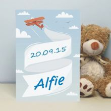 Personalised Plane with Banner Card - New Baby Boy Keepsake Card